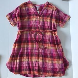 Isabel Maternity Plaid Tunic Button up Top NWT